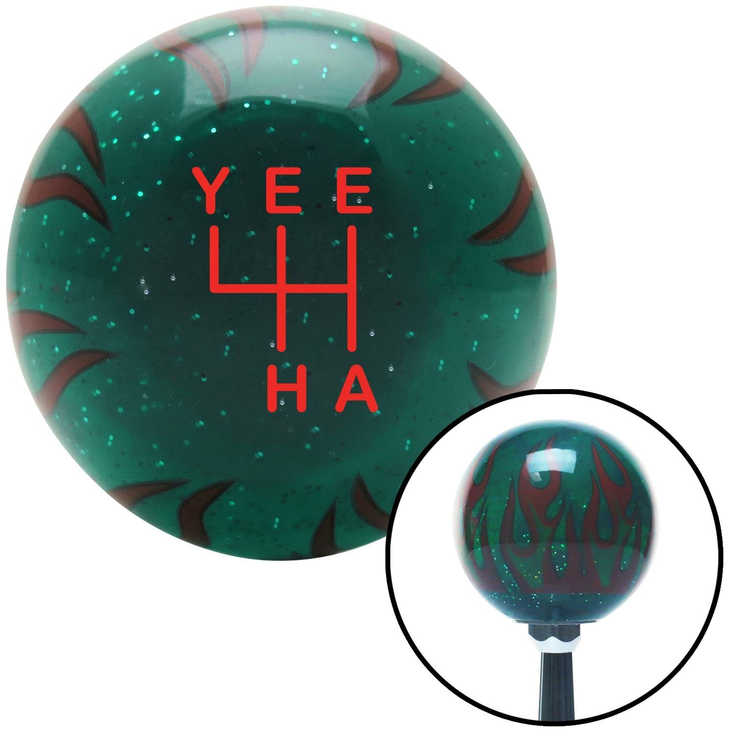 American Shifter 302349 Shift Knob Red YeeHa 4 Speed Green Flame Metal Flake