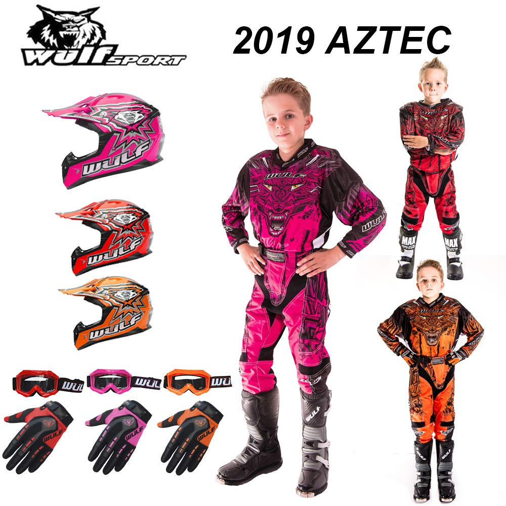 Wulf Wulfsport Flite Children Kids Motocross HELMET XL (53-54cm) GLOVES XS (7cm) & GOGGLES + Aztec KIDS RACE SUIT XL (Shirt 11-13 Yrs, Wasit 26) Kids Dirt Bike ATV Shirt Pants Kit Blue