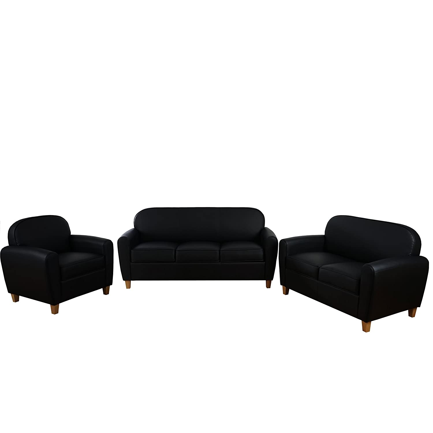 3 2 1 sofagarnitur malm t377 couch loungesofa retro 50er jahre design schwarz kunstleder. Black Bedroom Furniture Sets. Home Design Ideas