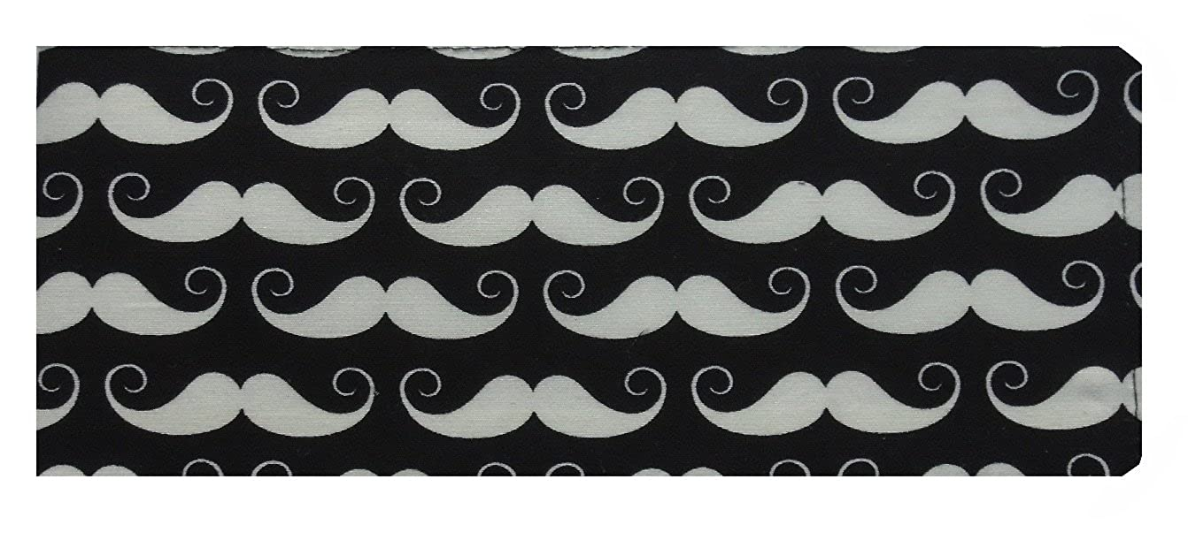 Black and White Moustaches Print Chequebook Cover - Natural Finish MPLCB034