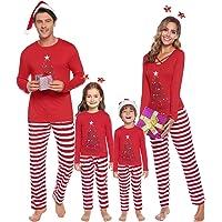 iClosam Pijamas De Navidad Familia Conjunto Pantalon y Top Mujer Hombre Niños Niña Camisetas De Manga Larga Sudadera…