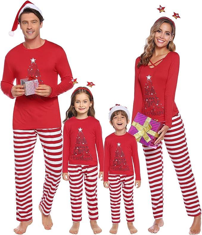 iClosam Pijamas De Navidad Familia Conjunto Pantalon y Top Mujer ...