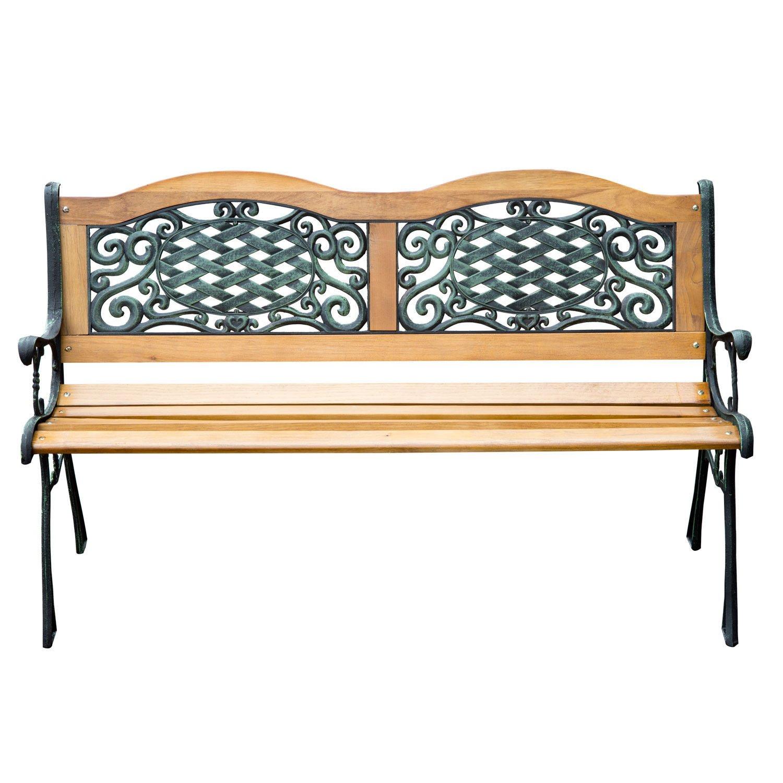 Outdoor Patio Garden Hardwood Slats Bench Furniture Cast Iron Frame Park Chair by Alitop