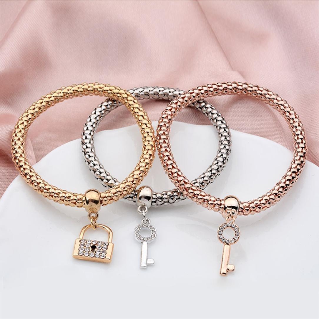 Franterd 3Pcs Women Charm Pendant Bracelet Fashion Multilayer Bangle Jewelry Gift