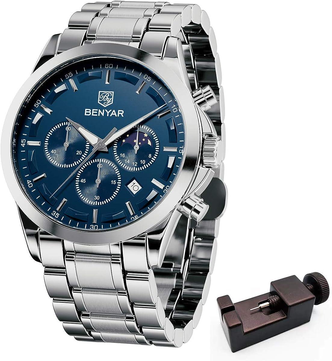 BENYAR - Wrist Watch for Men, Genuine Leather Strap Watches, Quartz Movement, Waterproof Analog Chronograph Watches