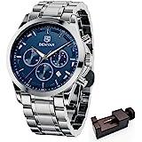 Relojes de Acero Inoxidable para Hombre BENYAR Cronografo Movimiento Cuarzo 3bar Impermeable Diseño Casual de Negocios…
