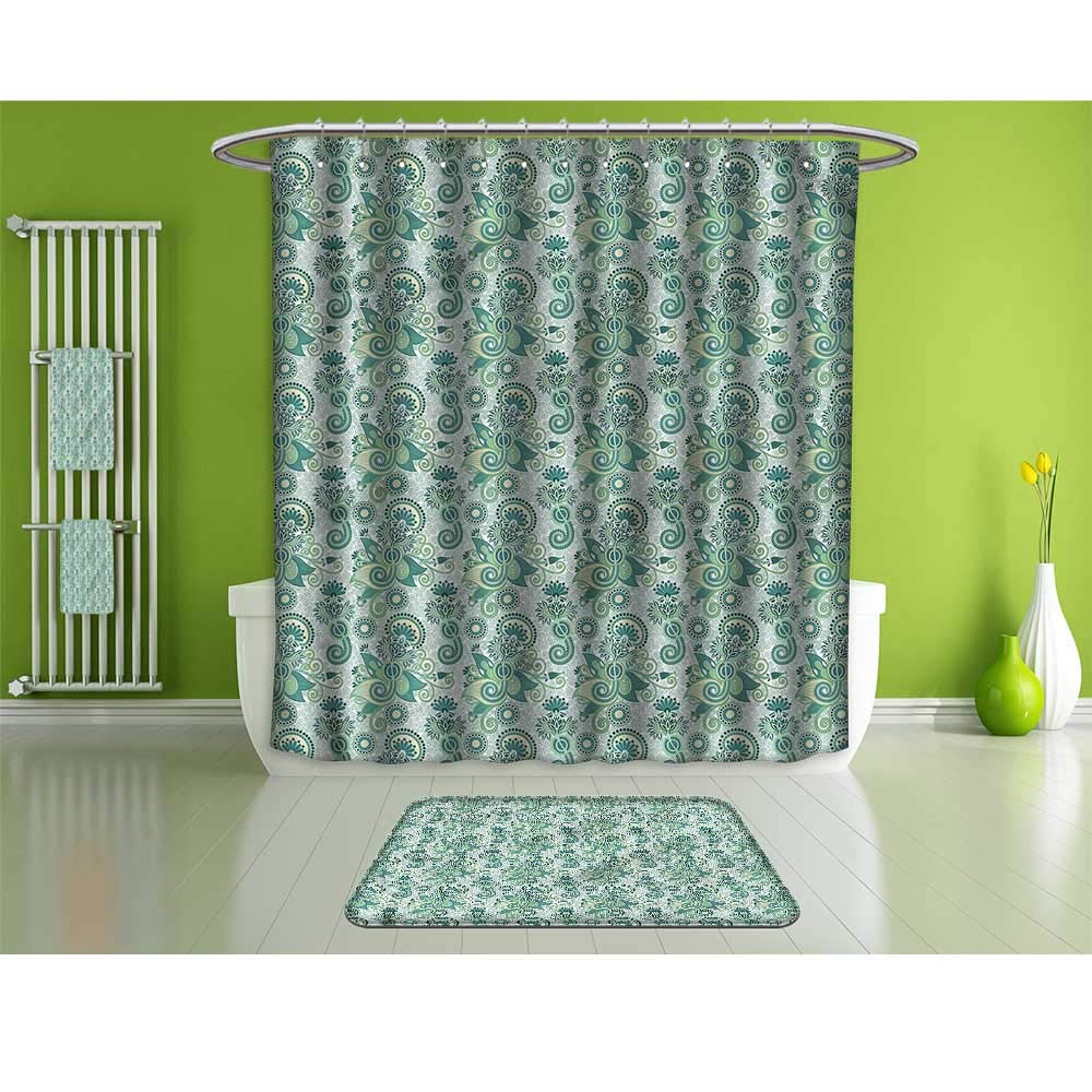 HoBeauty home Bathroom Suits &,Paisley,Floral Pattern Leaf Motif,Fashion Personality Customization adds Color to Your Bathroom.