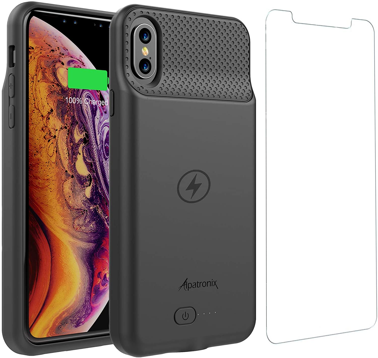 iPhone XR Battery Case, Powerful Slim Portable Protective Extended Charger Cover with Wireless Charging Compatible with iPhone XR (6.1 inch) BXXr - (Black)
