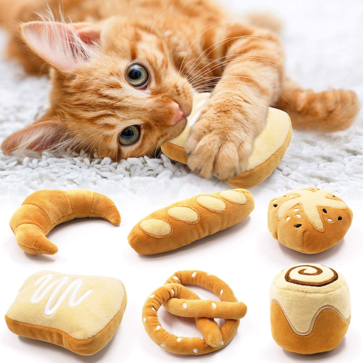 Bread Catnip Toys Kitten Interactive Toys for Cat Lover Gifts Kitty Chew Bite Kick Toys Supplies Baguette Croissant Pretzel Toast Bun Cinnamon Roll Plush Catmint Pet Presents Set of 6