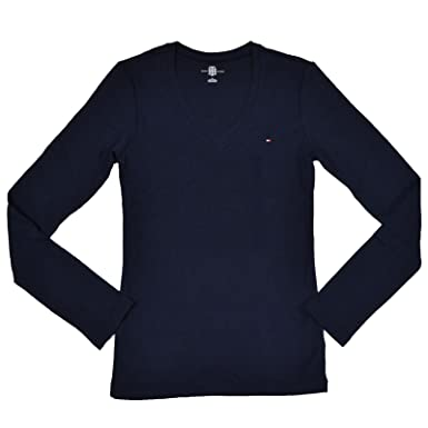 76676240211 Image Unavailable. Image not available for. Color  Tommy Hilfiger Womens  Long Sleeve V-Neck T-Shirt (Navy ...