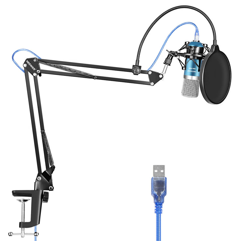 Micrófono USB Neewer para Windows y Mac con soporte de brazo de tijera con suspensión, montaje antichoque - Azuul y Plat