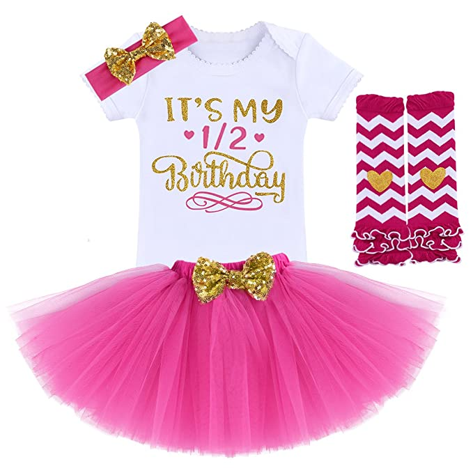 5a988559524e6 FYMNSI Newborn Baby Girls It's My 1st / 2nd Birthday Cake Smash Romper Tutu  Skirt Headband Leggings 4 Pcs Outfits
