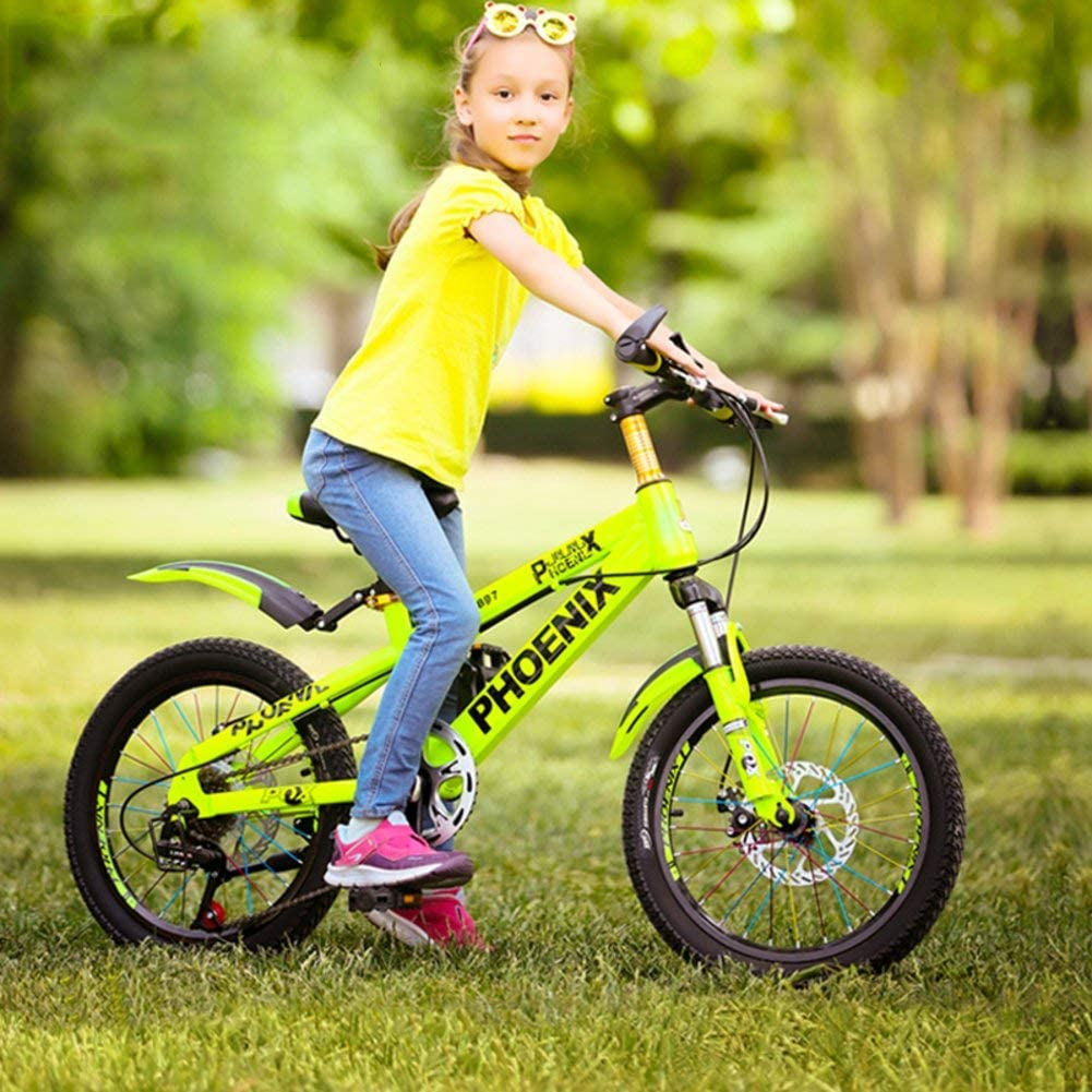 DBSCD Bicicleta Plegable para niños de 18 Pulgadas Bicicleta de montaña Hombre y Mujer Niños en Bicicleta 6-10-12 años Carruaje pupilas-Azul