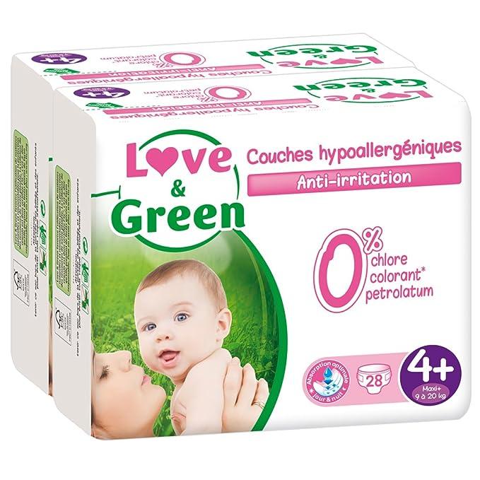 5 opinioni per Pannolini ecologici Amore & Green Taglia 4- Confezione da 2 x 28 strati (56