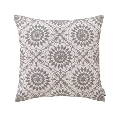 HWY 50 Cotton Embroidered Decorative Throw Pillow Covers Cushion Cases for Couch Sofa Bed Living Room Grey Gray Little Sunflower Floral 18 x 18 inch 45 x 45 cm, 1 Piece