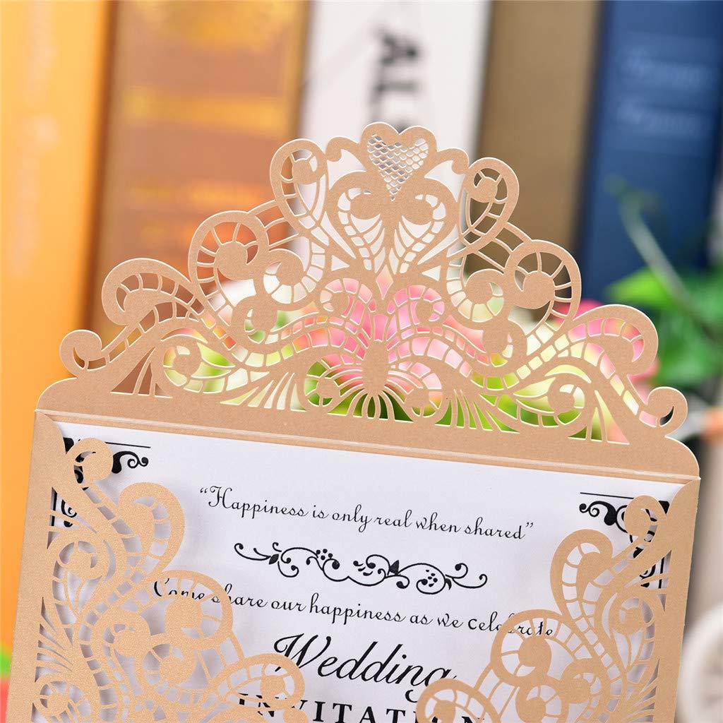 Carte danniversaire,Carte Dinvitation Exquise Yncc 10Pcs Carte Dinvitation De Mariage Beige Invitation de Mariage Motif De Gravure De Dentelle Ajour/ée