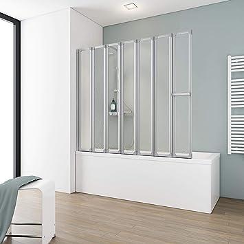 Schulte Bien - Mampara de bañera, incluyetoallero, puede plegarse en 5 o 7 partes, de vidrio con