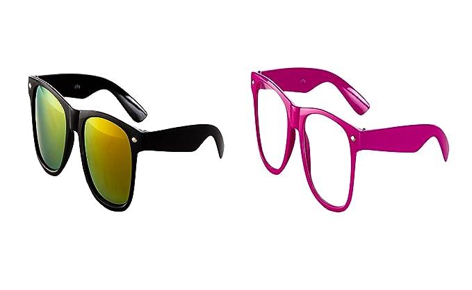 2 er Set Nerd Sonnenbrille Nerd Brille Feuer verspiegelt Schwarz + Weiß Blau UyMRkISak