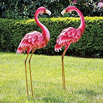 """Bits and Pieces - Set of Two (2) 35 ½"""" Tall Metal Flamingo Garden Statues - Durable Outdoor Sculptures Make Great Home Décor"""