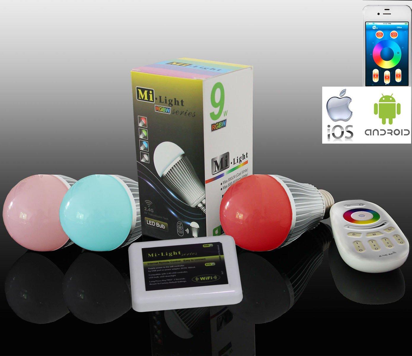 3x WLAN LED Lampe original LIGHTEU@ Farbe RGB- Warm Weiß, 9 Watt, E27, dimmbar, mit 4 zone Fernbedienung, Farbwechsel Glühbirne, inkl. WLAN Controller steuerbar über IPhone   Android App, 2 stk. VARTA AAA 1,5V Batterie