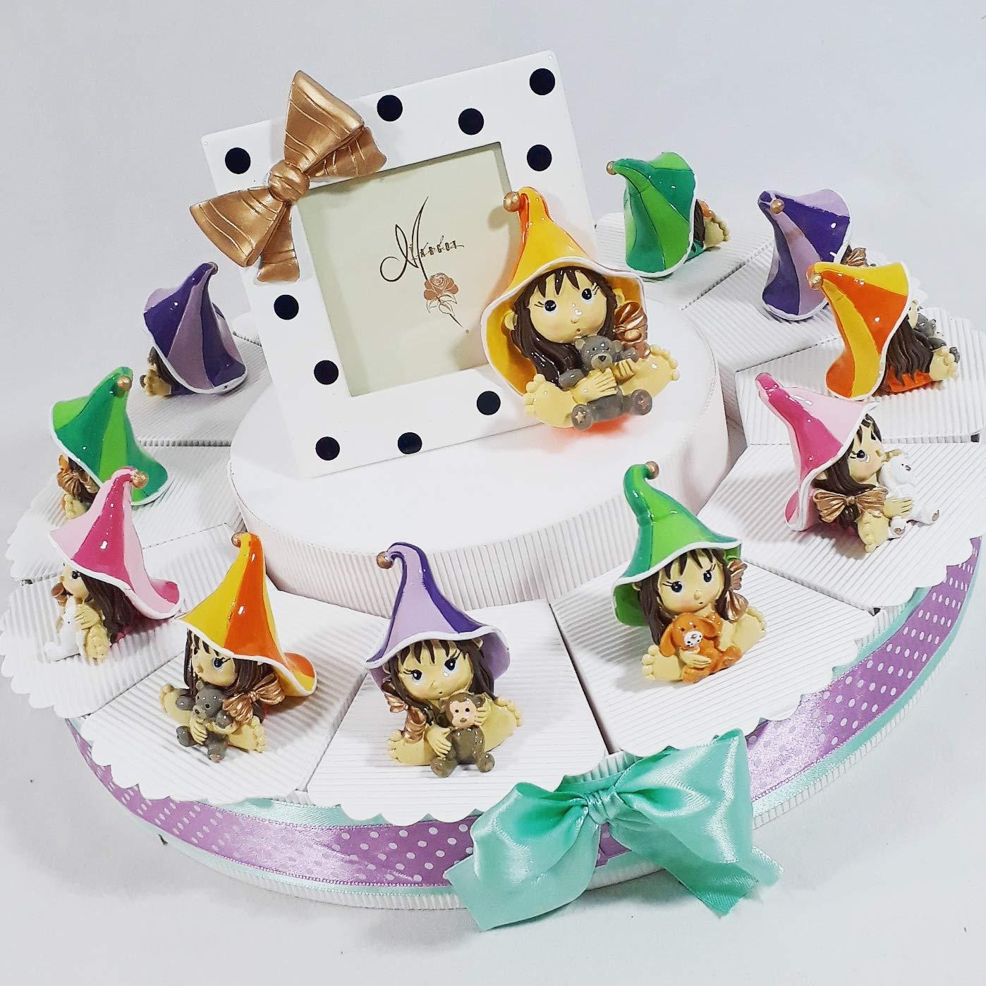 BOMBSINDY Torta Porta bomboniere streghetta Pixie Coloreate (Torta da 12 fette)