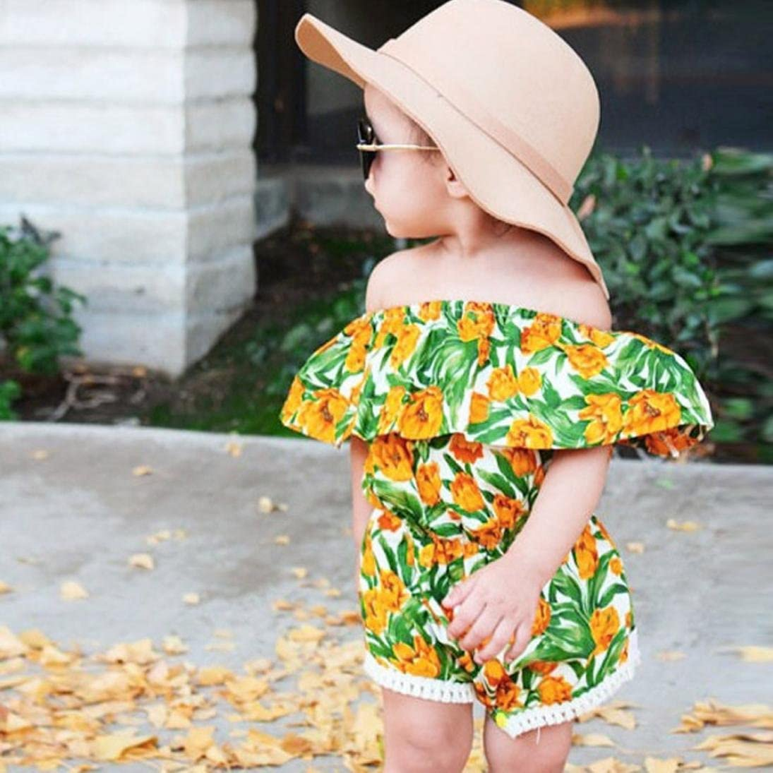 Toraway Toddler Infant Baby Girl Floral Printed Off Shoulder Romper Jumpsuit Outfits Sunsuit Clothes