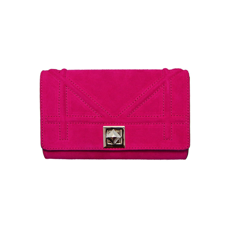 DIONISIA Umhängetasche Handtasche mit Kette und Schließen von Zubehör metallischen dunklem Nickel, gesteppte Glatteleder, Hergestellt in Italien 71112CFUCHSIA