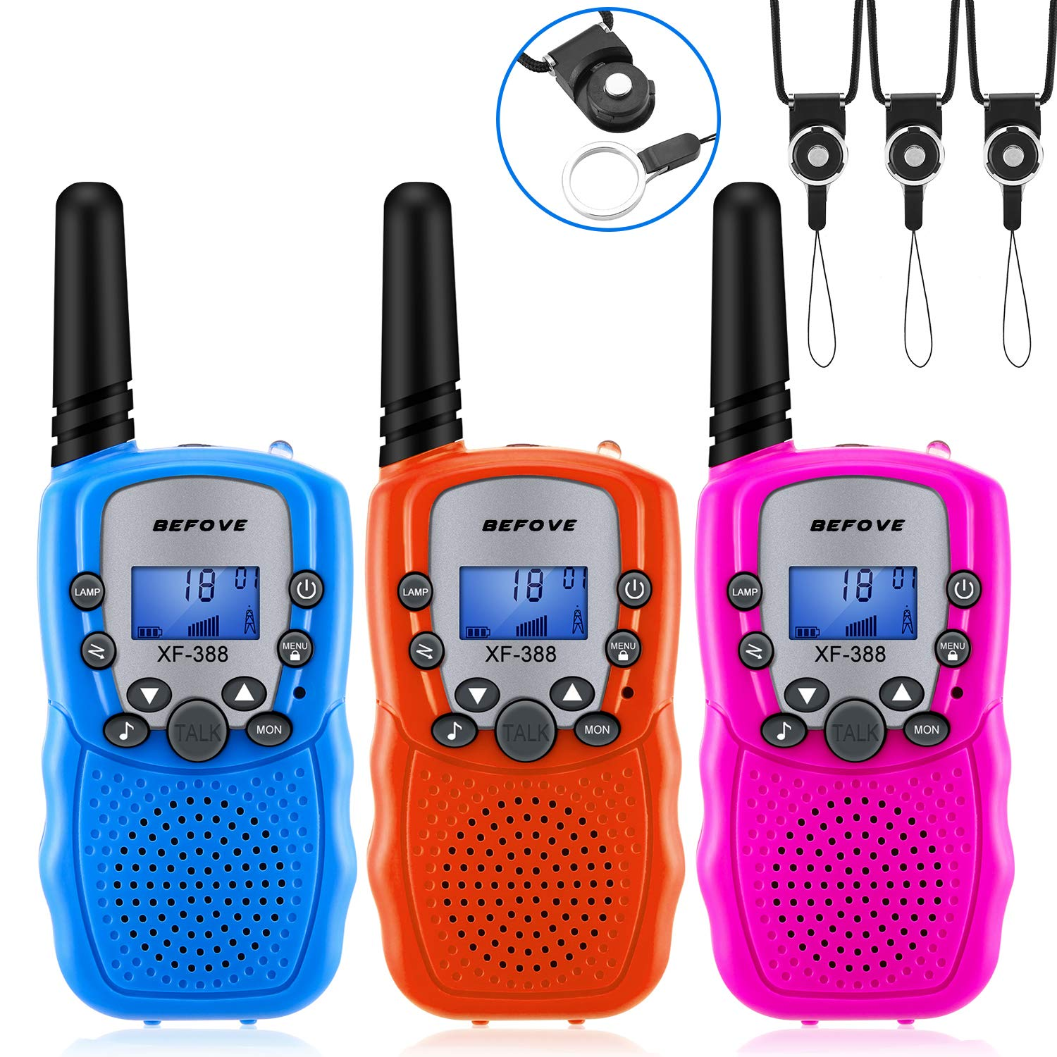 Befove Walkie Talkies, 3 x Walkie Talkie Kids 22 Channel Handheld FRS Transceiver Two Way Radios Long Range Walky Talky for Kids Adults, Camping Hiking Outdoor Use with Straps