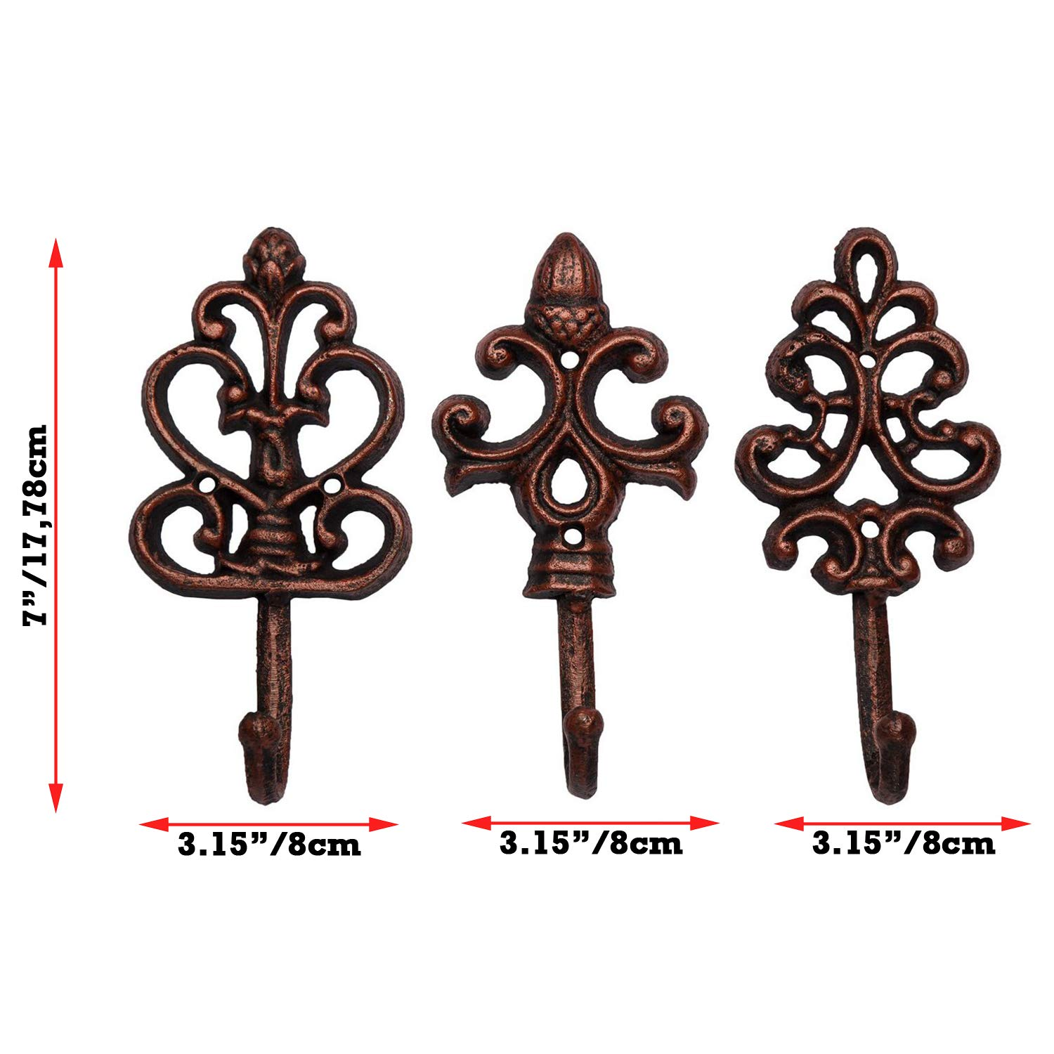 Set of 3 Large Decorative Hanging Hooks Antique Cooper Screws and Anchors for Mounting Included- Brown French Country Charm Rustic Shabby Chic Cast Iron Decorative Wall Hooks