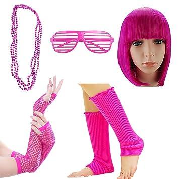iLoveCos 80s Fancy Dress Outfit Accesorios de Disfraz para Fiestas Rosado Pelucas Corto Gafas de Sol