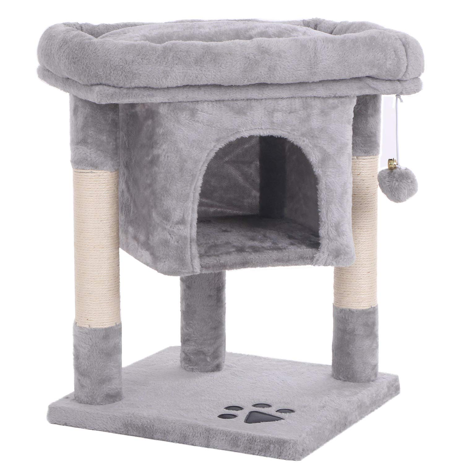 BEWISHOME Cat Tree Cat House Cat Condo with Sisal Scratching Posts, Plush Perch, Cat Tower Furniture Cat Bed Kitty…