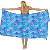 a84f9b31c0ef AMERICAN TANG Chiffon Printed Cover up Beach Sarong Wrap - mermaid fish  scale Magic Mermaid Tail
