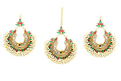 Sanara Indian bollywood Green stone made gold plated manng tikka with earring forehead jewelry x6voko7