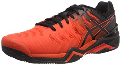 wholesale dealer 0394e 1fd41 ASICS Men s Gel-Resolution 7 Clay Cherry Tomato Black Tennis Shoes-10 UK