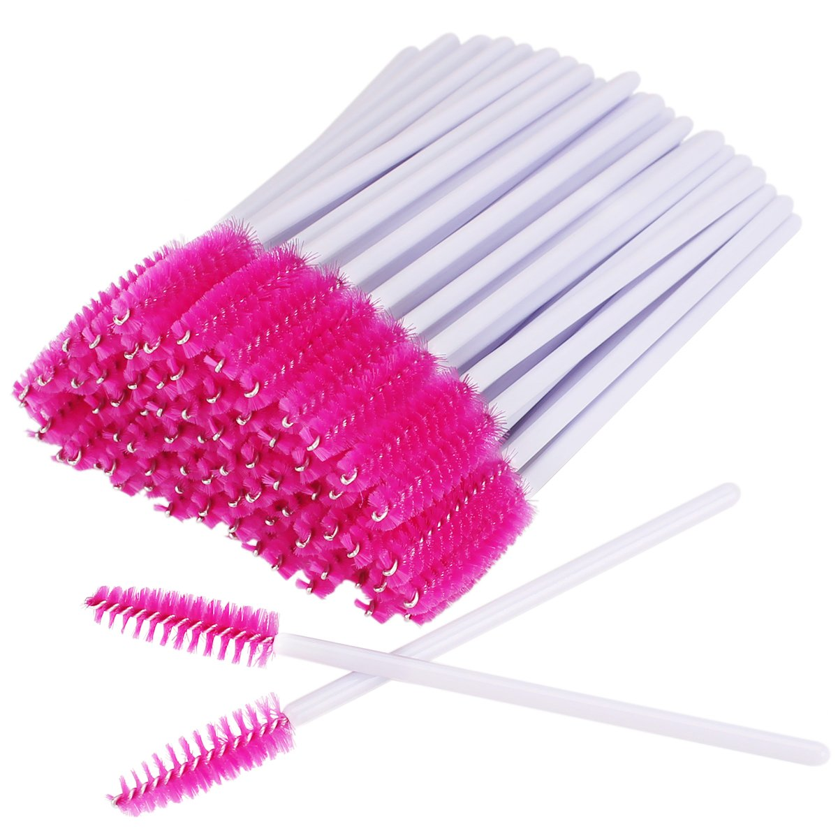 AKStore 100 PCS Disposable Eyelash Brushes Mascara Wands Eye Lash Eyebrow Applicator Cosmetic Makeup Brush Tool Kits (White-Rose)