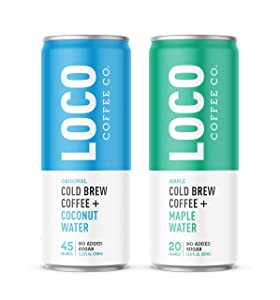 Loco Coffee Electrolyte and Antioxidant Infused Cold Brew 12oz Cans (Two 12 Packs - 24 Cans) Gluten and Dairy Free | Clean Energy and Low Acidity | No Added Sugar, Over 200mg Caffeine