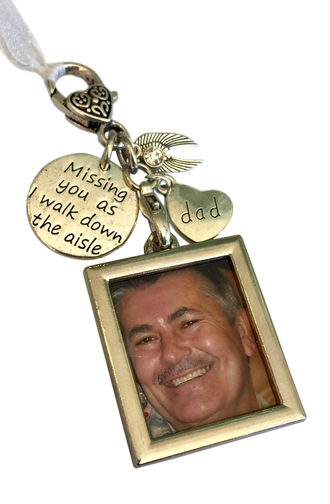 Harper Olivia Bridal Bouquet Photo Charm Missing You As I Walk Down The Aisle Wedding Memorial Gift for Dad