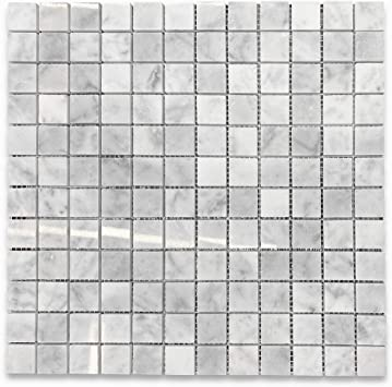 Stone Center Online Carrara White Marble 1x1 Square Mosaic Tile Polished For Kitchen Backsplash Bathroom Flooring Shower Surround Dining Room Entryway Corrido Spa 1 Sheet Amazon Com