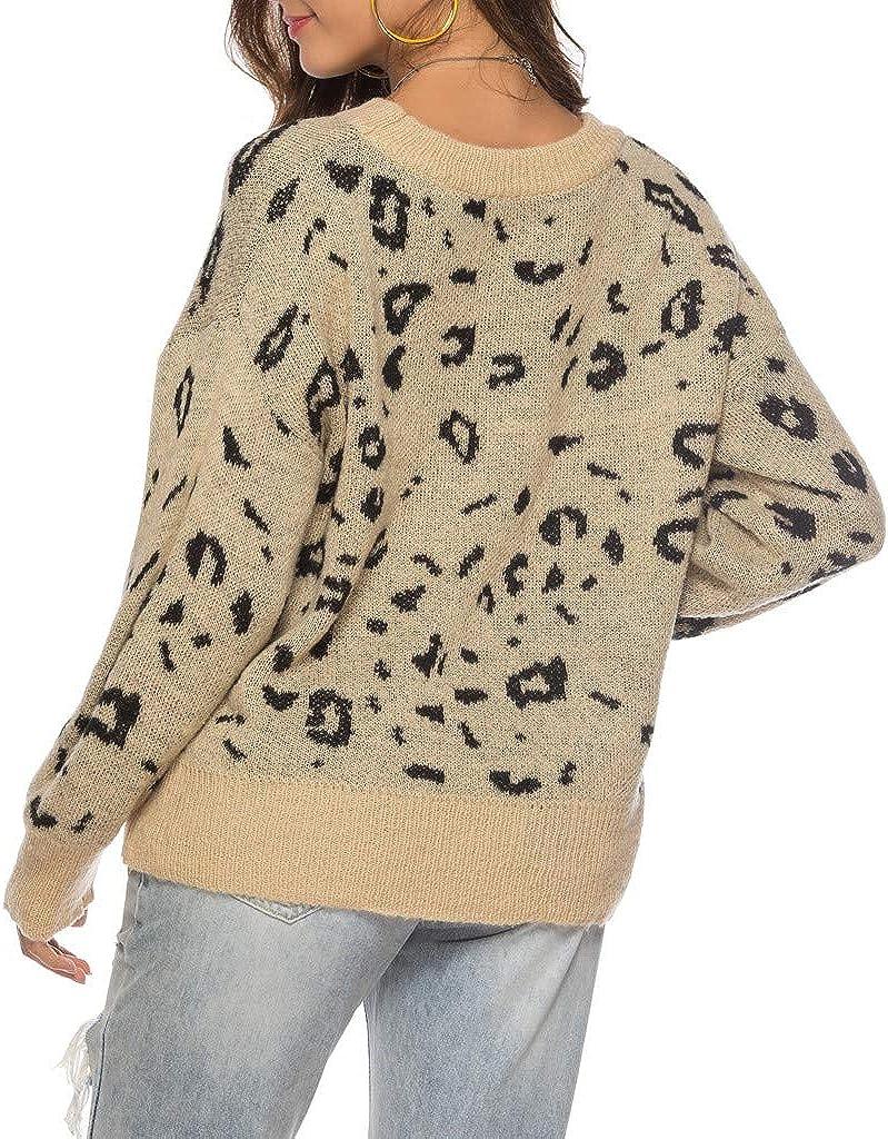 CLOOM Mujer Moda Jersey de Punto Leopardo Casual Blusas ...