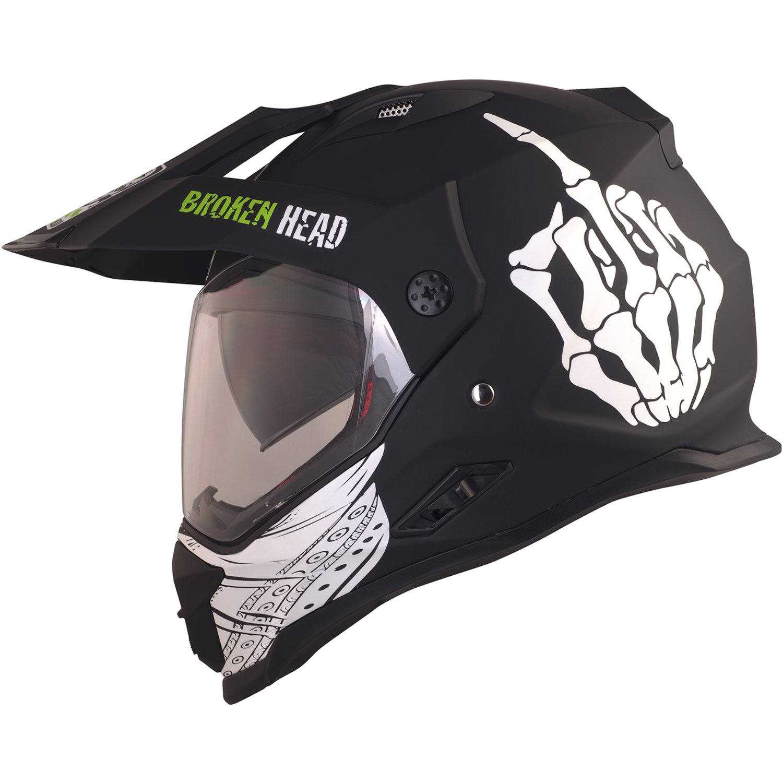 Broken Head Street Rebel Cross-Helm gr/ün mit Visier S 55-56 cm Quad-Helm MX Motocross Helm mit Sonnenblende Enduro-Helm