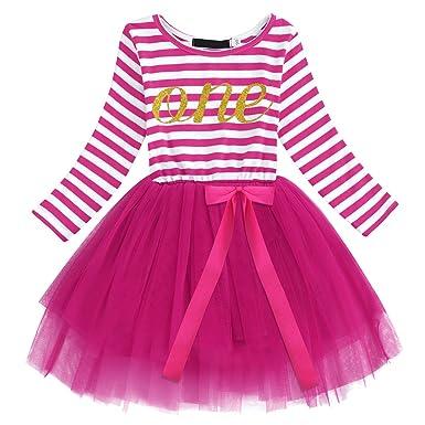 a04b9538685f9 Bébé Fille Robe Rayure Manches Longues Tutu Princesse 1er 2ème 3ème  Anniversaire Costume de Photographie Romper