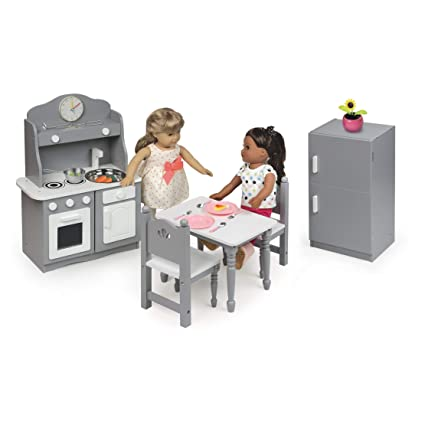 Amazon Com Doll Kitchen Furniture Set Gray And White Perfect For 18