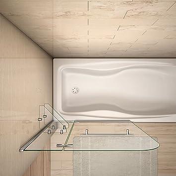 Mamparas de Bañera Biombo de Baño Abatible Cristal Templado 5 MM Estante Toallero, 90x140 CM: Amazon.es: Bricolaje y herramientas