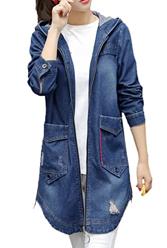 Scothen Mujeres Ocasionales Botón Denim Lavado Patches Jean Chaqueta Coatless Jeans Chaqueta Outwear Jeans Chaqueta Vintage manga larga suelta Long Jeans abrigo Casual Outwear