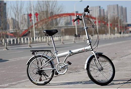 """IDS Online 20"""" unYOU U Transformer Folding Compact Bike 6 Speed Shimano, Semi-Alloy Front and Rear V-Brake, City Commuter Bicycle - Silver, for Unisex Adult"""