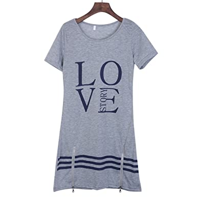 166254efd82 baqijian O-Neck Long T-Shirt Dress Women Dresses Plus Size at Amazon ...