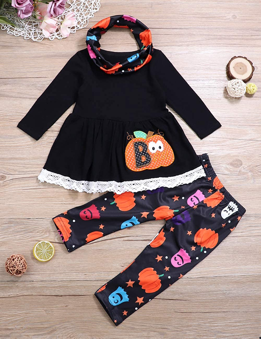 Toddler Little Girl Clothes Halloween Pumpkin Outfit Leggings with Headband Clothes Set for Girl 2-7T