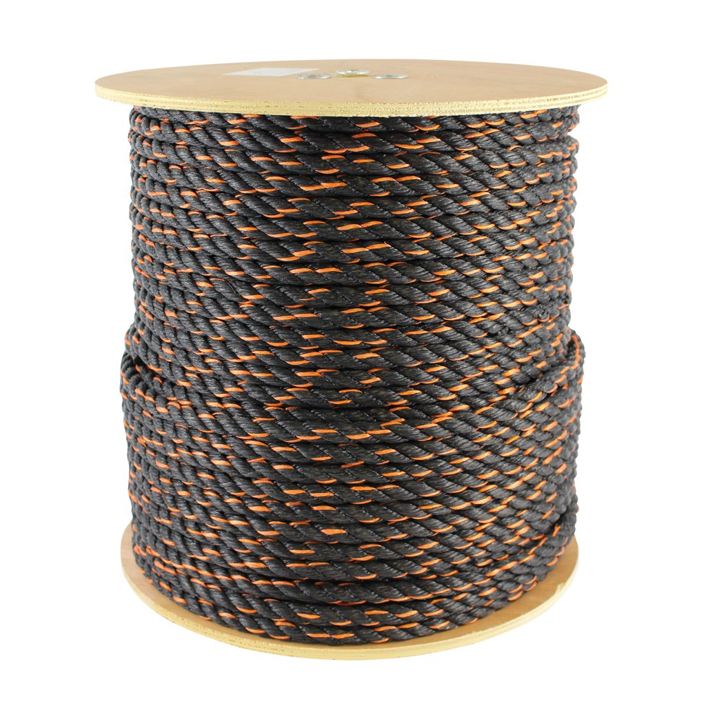 Floating Rope More 3//4 inch Polypro California Truck Rope - SGT KNOTS -Twisted Polypropylene Rope Tie-Downs 100 feet, Black and Orange Boating Hauling Gear Bundles for Cargo Straps