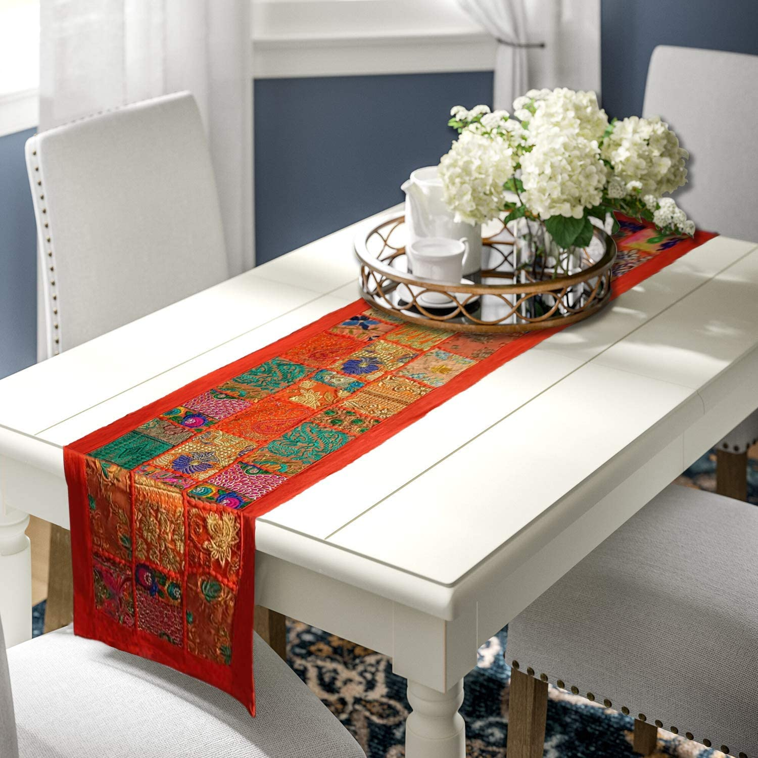 Essencea Rajasthani Style Table Runner Cotton   15x72 inches   Orange   Home Decoration, Table Decoration, Events, Party