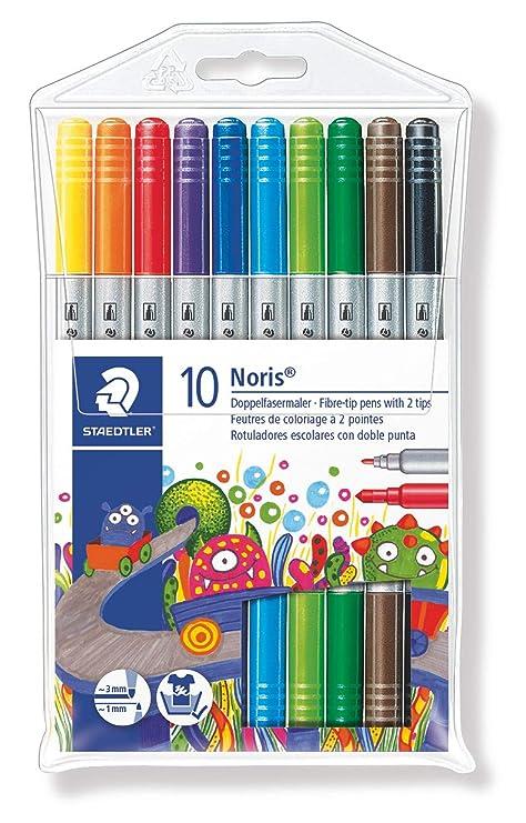 Staedtler Noris Club 320 - Paquete de 10 rotuladores (trazo doble), colores surtidos